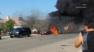 Military AV-8B Harrier jet crashes into 3 homes in Imperial California (2014 video)