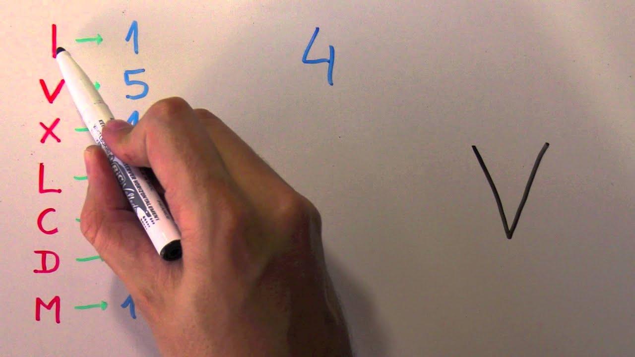 Cómo Se Escribe 4 Con Números Romanos Número Cuatro Iv Youtube