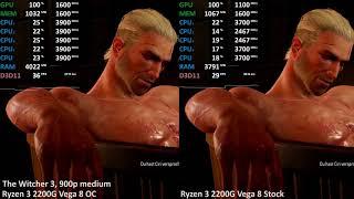 Ryzen 3 2200G Vega 8 - STOCK vs. Overclocked - GPU@1600Mhz CPU@3.9Ghz. Up to +20% Performance