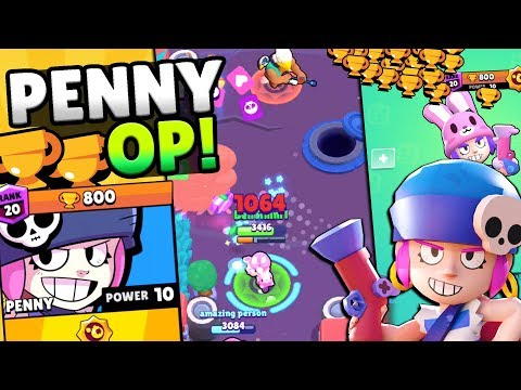 FIRST EVER! 800 TROPHY PENNY PUSH IN BRAWL STARS! HIGH LEVEL  PENNY  & GENE GAMEPLAY