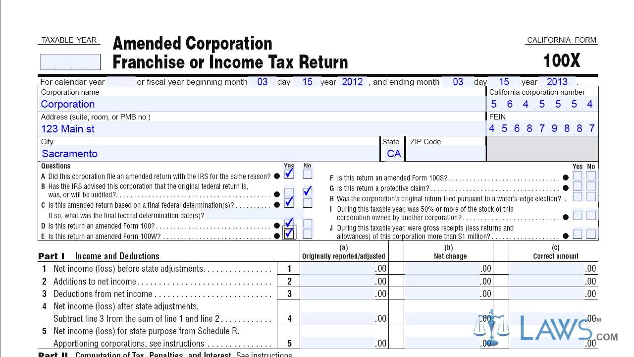 Form 100X Amended Corporation Franchise or Income Tax Return - YouTube