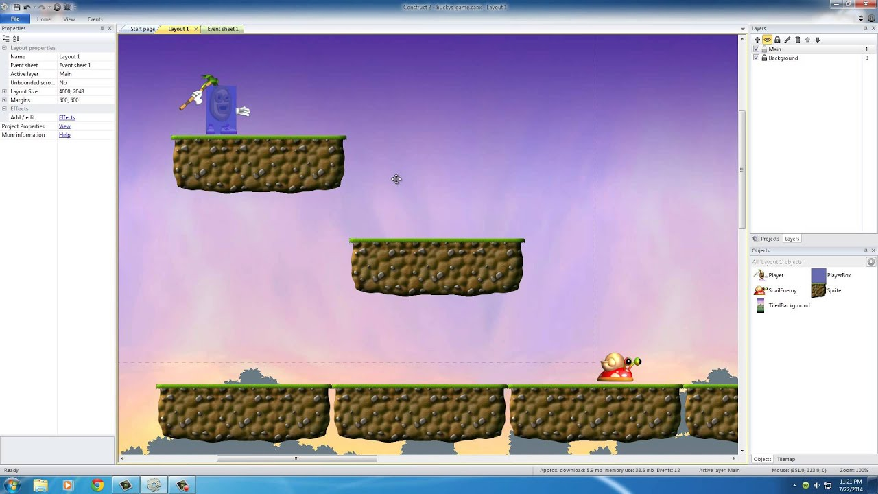 Construct 2 background image - Platform Game Development W Construct 2 14 Creating An Enemy