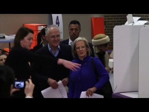 Australian PM Turnbull casts his vote in national elections