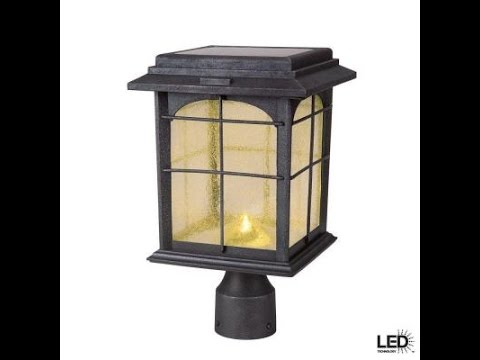 Hampton Bay Solar Outdoor Hand Painted Sanded Iron Post Lantern With Seedy Gl Last 8 Hours