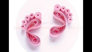 PAPER QUILLING - Beaitiful Quilled Baby Feet with Paper