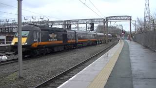 Grand Central class 43 HST passes Crewe with 3 coaches on Crewe CS-Heaton 15/02/14