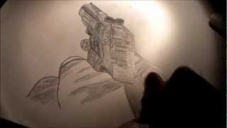 Speed Drawing: M1911 From Black Ops 2 - Using Basic HB Pencil!