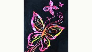 Уроки рисования. Как нарисовать бабочек  (БАБОЧКИ ТЕХНИКА ГРАТТАЖ) | Art School