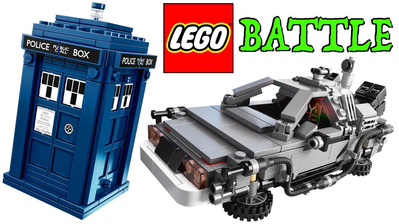 Lego Time Machine Battle Bttf Delorean V Doctor Who Tardis