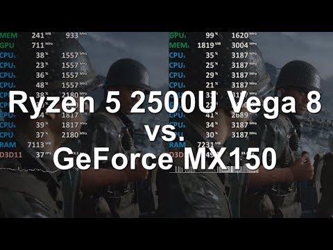 Amd Ryzen 5 2500u Vega 8 Adrenalin Vs Nvidia Geforce Mx150 Intel