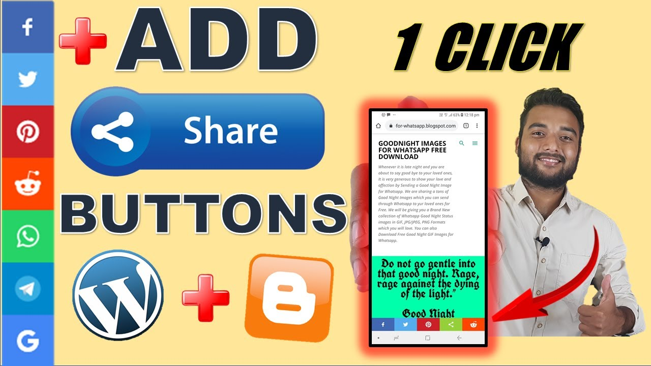 How To Add Social Media Share Buttons to Blogger & Wordpress POST + Website image