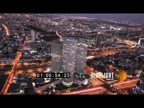 HD Aerial Footage Of Israel: Tel Aviv Night 30i