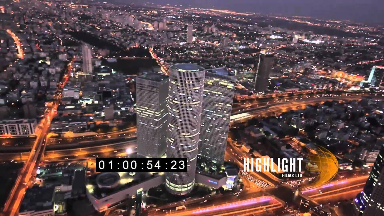 Tel Aviv Hd: HD Aerial Footage Of Israel: Tel Aviv Night 30i