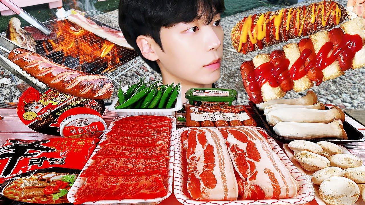 ASMR MUKBANG   직접 만든 불닭볶음면 & 핫도그 버섯 바베큐 캠핑 먹방 & 레시피 FIRE NOODLES AND BBQ EATING