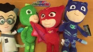Герои в масках обзор игрушек, мягкие игрушки Алетт, Кэтбой, Гекко и Ромео