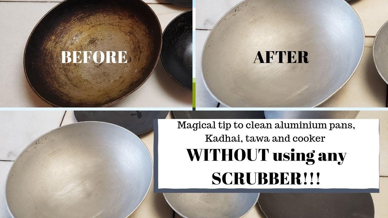 How to clean aluminium kadhai tawa cooker   Easy method ...