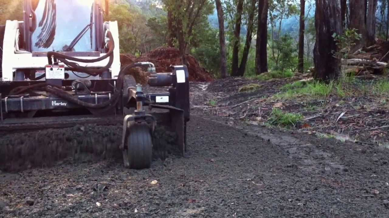 Landscape Australia NSW  Using a Harley Rake to clean up gravel driveway   Harley Rake