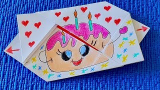 Оригами. Взрывной конверт Сюрприз на День Рождения.  Оригинальное поздравление с Днем Рождения.