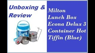 Milton Lunch Box For Office Econa Delux 3 Container Hot Tiffin (Blue) unboxing and review
