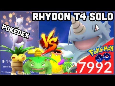 RHYDON T4 SOLO 6 UNIQUE GRASS TYPES WB IN POKEMON GO   MY POKÉDEX   1 LUGIA VS MACHAMP RAIDS thumbnail