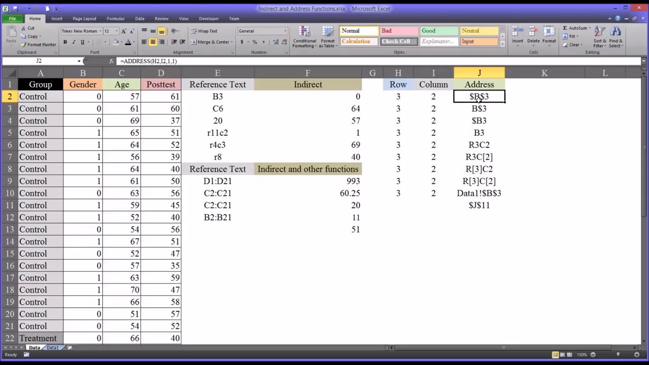 Indirect and Address Functions in Excel