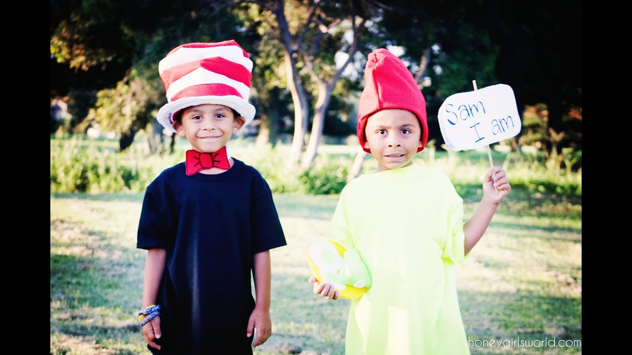 BOOK CHARACTER DRESS UP DAY u2013 EASY DIY DR. SEUSS CAT IN THE HAT AND SAM I AM COSTUMES - YouTube  sc 1 st  YouTube & BOOK CHARACTER DRESS UP DAY u2013 EASY DIY DR. SEUSS CAT IN THE HAT AND ...