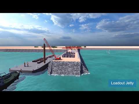 Loadout Jetty Piling Construction Animation   Offshore Piles Animation   Construction Video of Piers