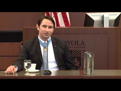 Former Army Capt. William Swenson, Medal of Honor recipient, addresses Loyola