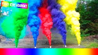 Learn Colors with COLORED SMOKE BOMB for Children, Toddlers and Babies  AMAZING
