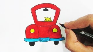 How to Draw Cat Driving Car with Coloring for Kids