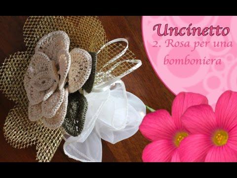 Uncinetto Fiore Rosa Per Una Bomboniera How To Do Flower Rose Youtube