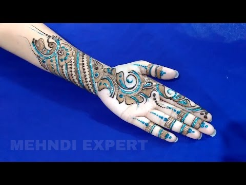 Modern style mehndi design for all occasions with blue glitter ★ step by step