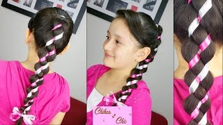 4 Strand Uneven / Loony Braid! | Ribbon Braided Hairstyles | Ponytail