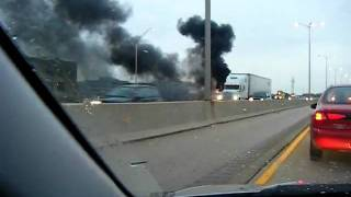 Download Video I88 West Bound Lane Semi Truck On Fire !!! MP3 3GP MP4