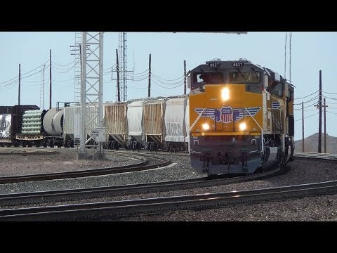 Railfanning in Barstow with a lot of great trains Including a UP SD70AH