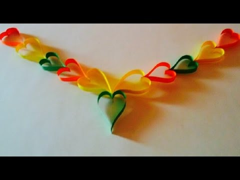 DIY Paper Heart door decor – Wall Decor | Paper flower garland – wall hanging decoration craft