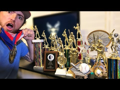 Reacting To My BASEBALL TROPHY Collection!