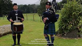 Highland Cathedral at a Scottish Wedding - Bagpiper & Drummer performing at the Drinks Reception
