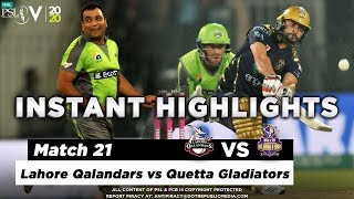 Lahore Qalandars vs Quetta Gladiators | Full Match Instant Highlights | Match 21 | 7 Mar | HBL PSL 5