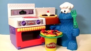 PLAY DOH Chef Cookie Monster Eats Letter Lunch Pizza From Play-Doh Meal Making Kitchen Baking Toy
