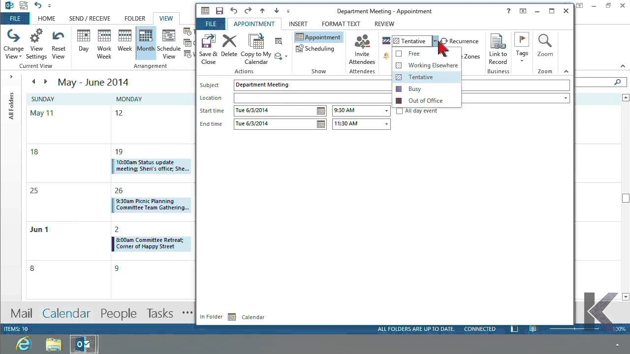 Microsoft Office Outlook 2013: Editing Appointments and Events   K Alliance