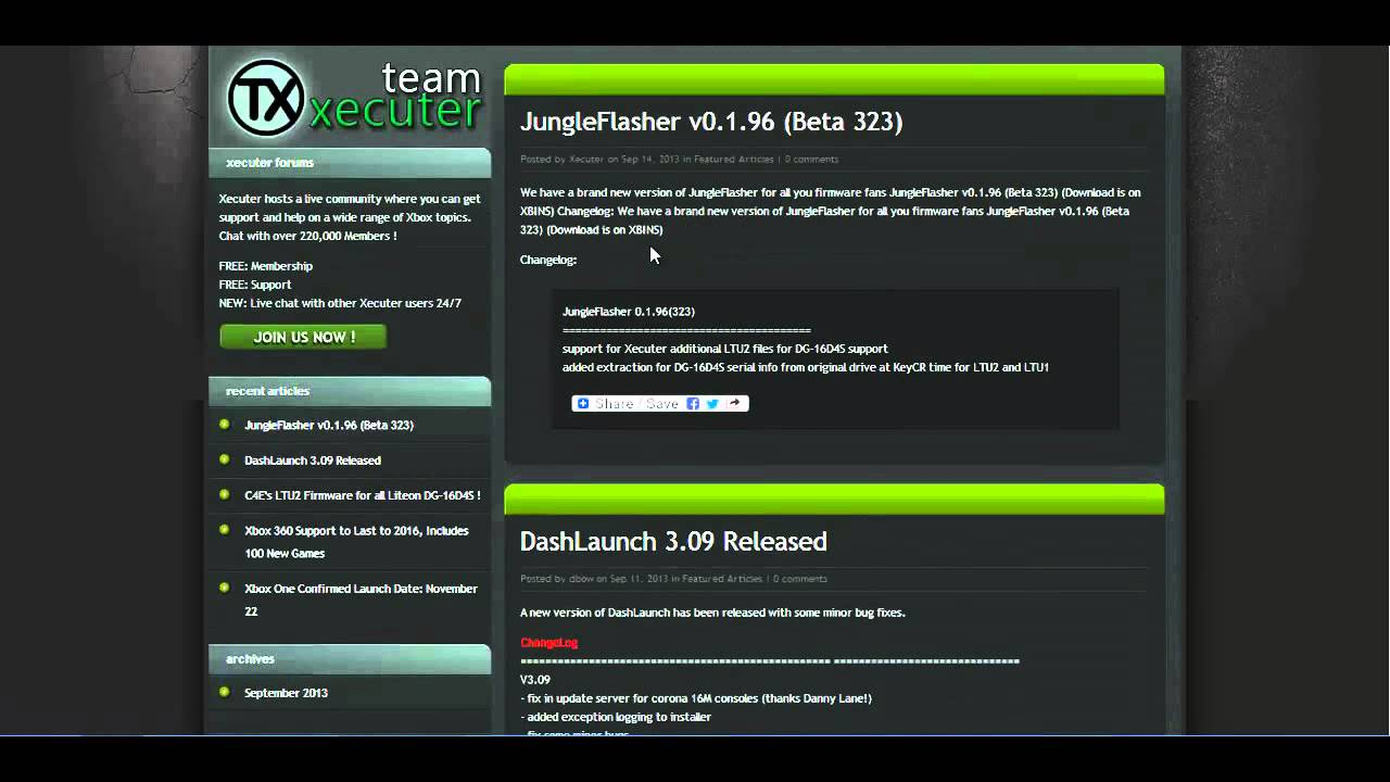 09/22/2013 Xbox News | JungleFlasher v0.1.96 | DashLaunch 3.09