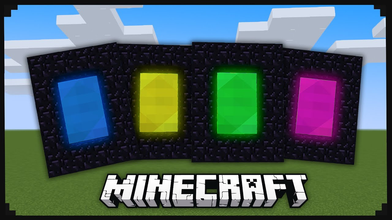 Custom Minecraft Portals With 9 Different Colors Youtube Minecraft Colors