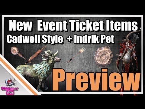 ESO: New Event Ticket Items! Cadwell Weapon Style and Indrik Pet Preview!
