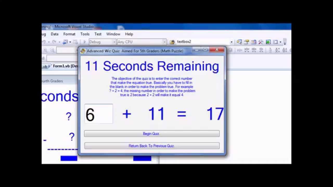 Visual Basic 2008: Math Quiz Program (1080P HD) - YouTube