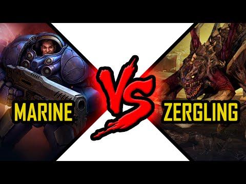 Starcraft 2 Marine vs Zergling SC unit Battle Terran vs Zerg fight