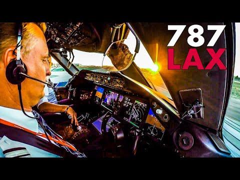 Boeing 787 Cockpit - Los Angeles Sunset Takeoff