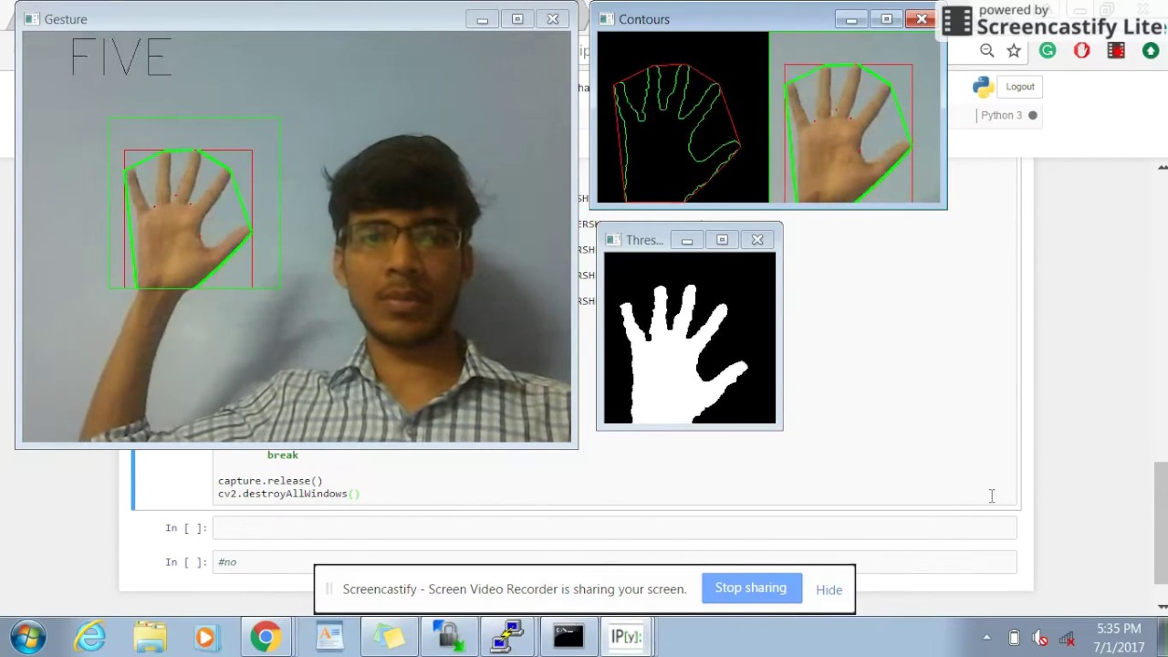 Hand Gesture Recognition : OpenCV + Python (Code Available)