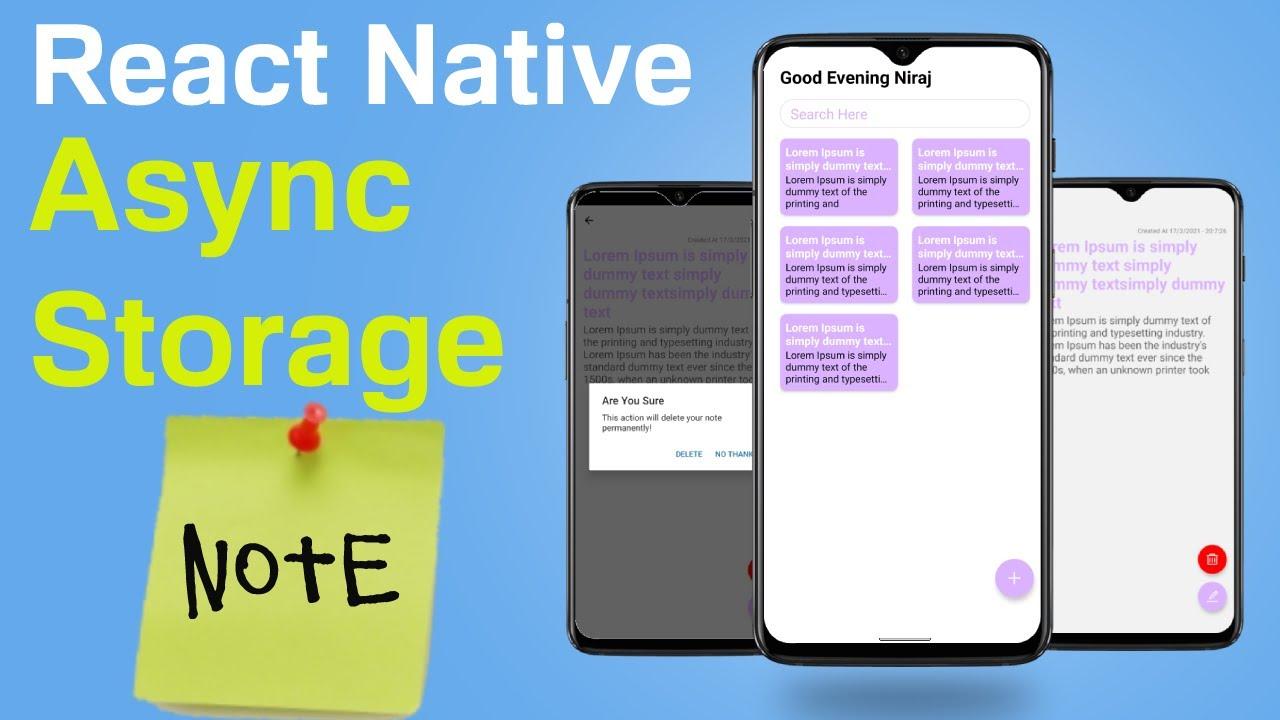 React Native Async Storage Note App - Storing User Name | #1