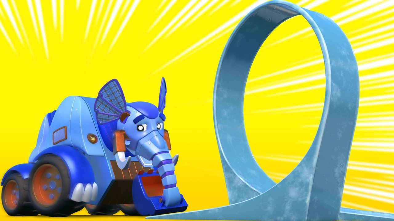 AnimaCars - MUSIM DINGIN: EXCAVATOR GAJAH takut akan ICE LOOP kartun anak dengan truk dan hewan